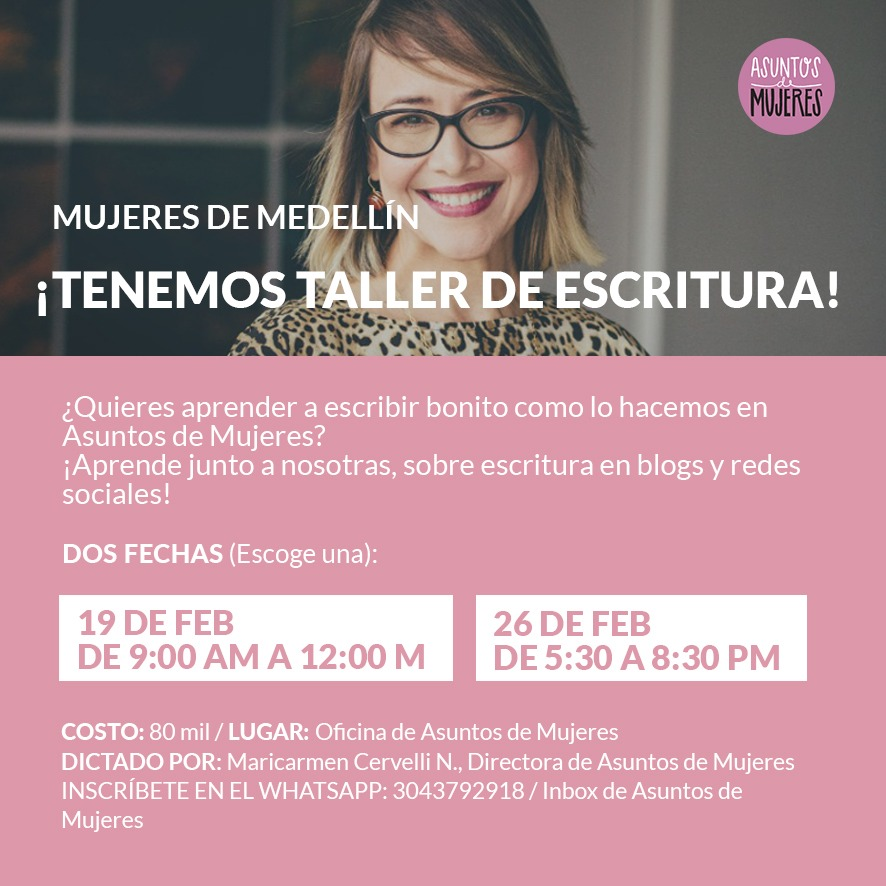 Tenemos taller de escritura en Medellín